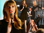 Slinky Swift! Taylor is sleek and sophisticated in a clinging black dress with sheer panels, as she returns to the stage after ACM disappointment