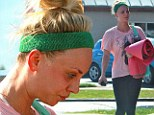 An eyeful! Kaley Cuoco heads out for a day full of exercise in no makeup, exposing mysterious shadows under her eyes