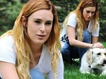 Rumer Willis was spotted with her dog at Coldwater Canyon Park in Beverly Hills, California on Saturday