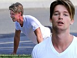 Patrick Schwarzenegger works out with friends in matching outfits at the Santa Monica stairs