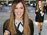 Ashley Tisdale gets a lift in killer spiked heels as she totters out on early-morning coffee run