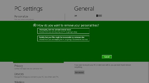 Windows 8 Reset Options Screen