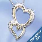 A Daughters Heart Sterling Silver Heart-Shaped Diamond Pendant - Two Hearts Diamond Pendant Jewelry Sparkles with Special Love Between Mother and Daughter! Ideal Jewelry Gift for Daughter