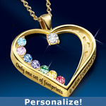 Footprints In The Sand Personalized Swarovski® Crystal Birthstone Pendant Necklace - Heart-shaped Personalized Footprints in the Sand Pendant Celebrates Family! Birthstone Jewelry Gift, Swarovski® Crystals!
