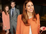 Olivia Palermo is poised and polished as she joins model boyfriend Johannes Huebl after lending her support at nail salon event