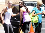 Sexy in spandex: Kym Johnson, left, Kellie Pickler, middle, and Alexandra Raisman, right, all showed off their sculpted stems in tight leggings for DWTS rehearsals on Wednesday