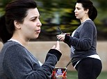 Kim Kardashian heads for a workout and grabs an instant breakfast