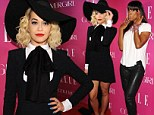 Hat's the way to do it! Leather clad Kelly Rowland is overshadowed by Rita Ora's eye-catching outfit at Elle Music Celebration