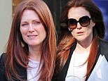 What a difference! Julianne Moore covered up her tired eyes with large sunglasses on Wednesday as she was out and about in New York's West Village
