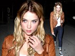 On trend: Ashley Benson sported dip-dye locks as she made her way to a West Hollywood, California restaurant on Wednesday night