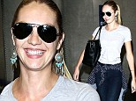 Candice Swanepoel arrives at the Los Angeles International Airport on Wednesday
