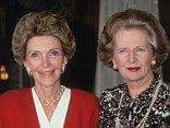 Friends: Nancy Reagan, the wife of US president Ronald Reagan, is said to be devastated about Margaret Thatcher's death, but will also not be attending the funeral