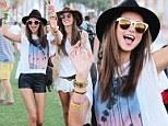 Angels landing: Alessandra Ambrosio and Miranda Kerr graced the polo field at Coachella in Indio, California, on Friday