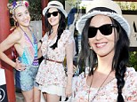 California girl! Katy Perry makes a splash in sheer lace at the Haper's Bazaar Coachella 2013 pool party