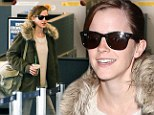 A true English rose! Makeup-free Emma Watson shows off her flawless complexion and dressed-down style as she makes her way through the airport