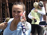 Getting close! Kellie Pickler and Derek Hough share a warm embrace as the cast of Dancing With The Stars leave grueling rehearsal