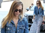 Gypsy queen! Jessica Alba shows off her flair for Bohemian fashion in blue-print maxi skirt and denim jacket