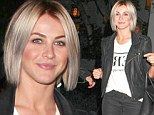 Julianne Hough channels rockstar chic as she steps out in silver-streaked hair and leather motorcycle jacket
