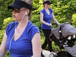 Melissa Joan Hart parades her post- pregnancy body in workout gear on stroll with new son... after dropping two dress sizes in seven months