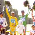 The four jersey classification winners: Andy Schleck (Saxo Bank), Alberto Contador (Astana), Alessandro Petacchi (Lampre) and Anthony Charteau (Bbox)