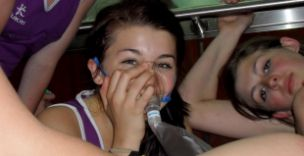 One of the trapped netball team beathes pure oxygen