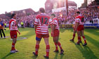 Wigan players after the last game at Central Park in 1999
