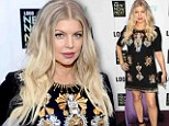 Fergie sparkles in a bedazzled maternity gown with long purple train at Logo's NewNowNext Awards