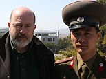 On the inside: Panorama reporter John Sweeney with a North Korean colonel overlooking the De-Militarised Zone