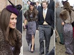 The Duchess of Cambridge's sister channeled a 1920's style for the occasion, with her patterned high necked dress coupled with a purple winter bonnet and clutch bag