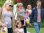 Pregnant Busy Philipps seen with her family leaving a birthday party in Hollywood