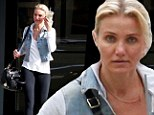 Actress Cameron Diaz rewards herself with an iced tea after completing a training session Saturday in Los Angeles