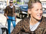 Forever young! Makeup-free Sharon Stone shows off her incredible figure in skintight jeans while walking her dogs with eldest son