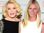 War of words: Gwyneth Paltrow pictured in Germany on Thursday and Joan Rivers, in LA on the same day