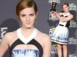 A Trailblazer in every sense of the word! Emma Watson cuts a stylish figure in graphic-print dress at MTV Movie Awards as she accepts her prize