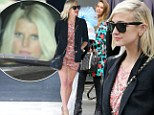 Ashlee Simpson shows off her legs at sister Jessica's baby shower... while Jessica Alba arrives laden down with gifts