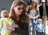 The Brady Bunch: Gisele and Tom make the most of the off-season as they head out in the Big Apple for Sunday lunch