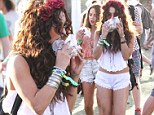 Vanessa Hudgens grabs a bite to eat after getting some henna tattoo on day 2 of Coachella 2013 in Indio, CA
