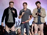 Letting it all hang out! Seth Rogen and Danny McBride stun audiences at the MTV Movie Awards by dropping their pants as Zac Efron looks on