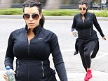 Kim Kardashian visits the gym in Los Angeles wearing all-black on Sunday
