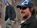 Christian Bale cuts a more rounded figure as he wears form-fitting T-shirt for trip to the park