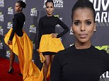 Precious as a buttercup! Kerry Washington makes a fashion statement in trailing black and yellow gown at MTV Movie Awards