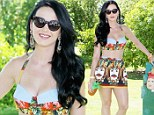 Salvador would surely approve! Katy Perry bares her midriff in whimsical Dali skirt and top at celeb-studded Coachella pool party