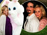 Baby aboard: Backstreet Boys singer Kevin Richardson posted a photo on Twitter on Sunday showing his pregnant wife next to the Easter bunny