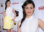 In bloom: Emmy Rossum springs into action in floral skirt for Saving Tails soiree