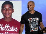 The actor posed on the red carpet wearing the T-shirt with a picture of the Florida teen's face along with victims of the Newtown massacre and the words 'Know Justice, Know Peace'