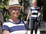 Was her sense of style overlooked? Katherine Heigl leaves her mother's house in mismatched navy stripes and black jeans