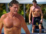 Not bad for 60! David Hasselhoff puts his muscular beach body back on show as he wears a pair of tight swimming trunks to go sailing in Australia