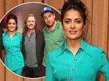 She's a gem! Salma Hayek glows in turquoise silk suit as she joins Grown Ups 2 co-stars at CinemaCon