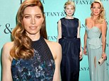 Fifty shades of blue! Kate Hudson, Michelle Williams and Jessica Biel sparkle in stunning gowns at Tiffany party