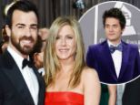 Awkward alert: Jennifer Aniston and her actor fiance Justin Theroux dined together on Wednesday in West Hollywood just two tables away from her ex-boyfriend John Mayer